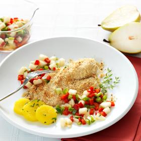 peixe com especiarias e vinagrete deperas