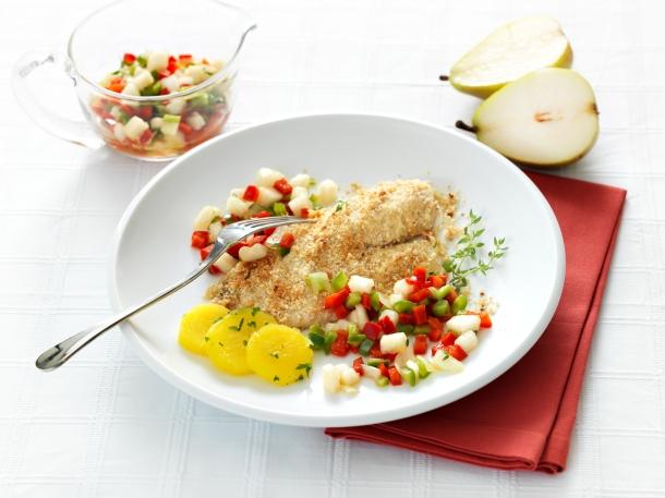 Peixe com especiarias e vinagrete de peras