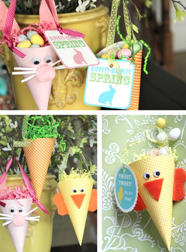 cones de papel e um porta-ovinhos para as crianças se divertirem na Páscoa