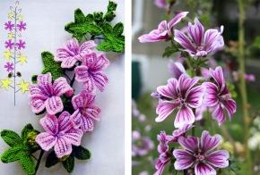 malva – flor de crochê comgráfico