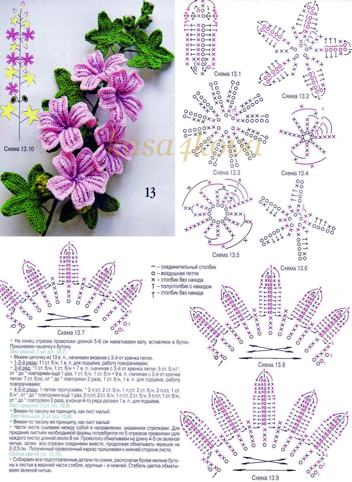 Malva Flor De Crochê Com Gráfico Mariacarambola